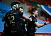 3 April 2021; Kieran Marmion of Connacht celebrates with teammates after scoring his side's first try during the European Rugby Challenge Cup Round of 16 match between Leicester Tigers and Connacht at Welford Road in Leicester, England. Photo by Matt Impey/Sportsfile