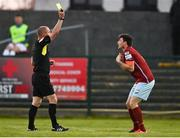 3 April 2021; John Kavanagh of Cobh protests to referee Paul McLaughlin during the SSE Airtricity League First Division match between Cobh Ramblers and UCD at St Colman's Park in Cobh, Cork. Photo by Eóin Noonan/Sportsfile