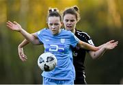 3 April 2021; Kerri Letmon of DLR Waves in action against Ciara Rossiter of Wexford Youths during the SSE Airtricity Women's National League match between DLR Waves and Wexford Youths at UCD Bowl in Belfield, Dublin. Photo by Piaras Ó Mídheach/Sportsfile