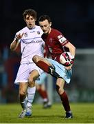 3 April 2021; Lee Devitt of Cobh in action against Dara Keane of UCD during the SSE Airtricity League First Division match between Cobh Ramblers and UCD at St Colman's Park in Cobh, Cork. Photo by Eóin Noonan/Sportsfile