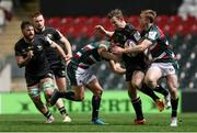 3 April 2021; Matt Healy of Connacht is tackled by Matías Moroni of Leicester Tigers during the European Rugby Challenge Cup Round of 16 match between Leicester Tigers and Connacht at Welford Road in Leicester, England. Photo by Matt Impey/Sportsfile