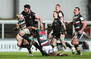 3 April 2021; Paul Boyle of Connacht is tackled by Zack Henry of Leicester Tigers during the European Rugby Challenge Cup Round of 16 match between Leicester Tigers and Connacht at Welford Road in Leicester, England. Photo by Matt Impey/Sportsfile