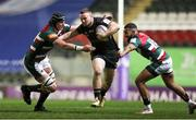 3 April 2021; Sean O'Brien of Connacht is tackled by Cameron Henderson, left, and Zack Henry of Leicester Tigers during the European Rugby Challenge Cup Round of 16 match between Leicester Tigers and Connacht at Welford Road in Leicester, England. Photo by Matt Impey/Sportsfile