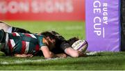 3 April 2021; Alex Wootton of Connacht scores his side's third try during the European Rugby Challenge Cup Round of 16 match between Leicester Tigers and Connacht at Welford Road in Leicester, England. Photo by Matt Impey/Sportsfile