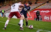 3 April 2021; Jay McClelland of St Patrick's Athletic in action against Rob Cornwall and Andy Lyons of Bohemians during the SSE Airtricity League Premier Division match between Bohemians and St Patrick's Athletic at Dalymount Park in Dublin. Photo by Seb Daly/Sportsfile
