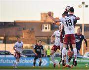 3 April 2021; Ronan Coughlan of St Patrick's Athletic heads to score his side's first goal during the SSE Airtricity League Premier Division match between Bohemians and St Patrick's Athletic at Dalymount Park in Dublin. Photo by Seb Daly/Sportsfile