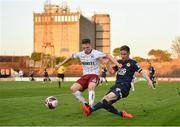 3 April 2021; Ian Bermingham of St Patrick's Athletic in action against Andy Lyons of Bohemians during the SSE Airtricity League Premier Division match between Bohemians and St Patrick's Athletic at Dalymount Park in Dublin. Photo by Seb Daly/Sportsfile