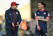 3 April 2021; St Patrick's Athletic head coach Stephen O'Donnell and Ronan Coughlan during the SSE Airtricity League Premier Division match between Bohemians and St Patrick's Athletic at Dalymount Park in Dublin. Photo by Seb Daly/Sportsfile