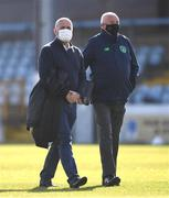 3 April 2021; Former Dundalk chief operating officer Martin Connolly, left, ahead of the SSE Airtricity League Premier Division match between Drogheda United and Finn Harps at Head in the Game Park in Drogheda, Louth. Photo by Ben McShane/Sportsfile