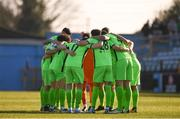 3 April 2021; Finn Harps players huddle ahead of the SSE Airtricity League Premier Division match between Drogheda United and Finn Harps at Head in the Game Park in Drogheda, Louth. Photo by Ben McShane/Sportsfile