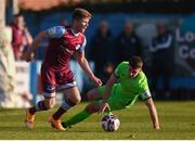 3 April 2021; Conor Kane of Drogheda United and Karl O'Sullivan of Finn Harps during the SSE Airtricity League Premier Division match between Drogheda United and Finn Harps at Head in the Game Park in Drogheda, Louth. Photo by Ben McShane/Sportsfile