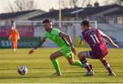 3 April 2021; Adam Foley of Finn Harps and Jake Hyland of Drogheda United during the SSE Airtricity League Premier Division match between Drogheda United and Finn Harps at Head in the Game Park in Drogheda, Louth. Photo by Ben McShane/Sportsfile