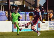 3 April 2021; Karl O'Sullivan of Finn Harps and Dane Massey of Drogheda United during the SSE Airtricity League Premier Division match between Drogheda United and Finn Harps at Head in the Game Park in Drogheda, Louth. Photo by Ben McShane/Sportsfile