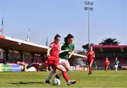 3 April 2021; Emily Whelan of Shelbourne in action against Ciara McNamara of Cork City during the SSE Airtricity Women's National League match between Cork City and Shelbourne at Turners Cross in Cork. Photo by Eóin Noonan/Sportsfile