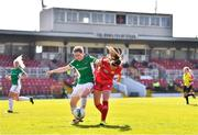 3 April 2021; Jamie Finn of Shelbourne in action against Becky Cassin of Cork City during the SSE Airtricity Women's National League match between Cork City and Shelbourne at Turners Cross in Cork. Photo by Eóin Noonan/Sportsfile