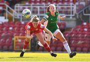3 April 2021; Jessie Stapleton of Shelbourne in action against Lauren Walsh of Cork City during the SSE Airtricity Women's National League match between Cork City and Shelbourne at Turners Cross in Cork. Photo by Eóin Noonan/Sportsfile