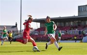 3 April 2021; Saoirse Noonan of Shelbourne in action against Ciara McNamara of Cork City during the SSE Airtricity Women's National League match between Cork City and Shelbourne at Turners Cross in Cork. Photo by Eóin Noonan/Sportsfile
