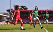 3 April 2021; Alex Kavanagh of Shelbourne in action against Lauren Egbuloniu of Cork City during the SSE Airtricity Women's National League match between Cork City and Shelbourne at Turners Cross in Cork. Photo by Eóin Noonan/Sportsfile