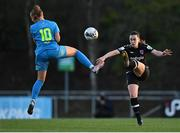 3 April 2021; Orlaith Conlon of Wexford Youths in action against Katie Malone of DLR Waves during the SSE Airtricity Women's National League match between DLR Waves and Wexford Youths at UCD Bowl in Belfield, Dublin. Photo by Piaras Ó Mídheach/Sportsfile
