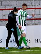 2 April 2021; Gary Shaw of Bray Wanderers leaves the pitch to recieve medical attention for an injury during the SSE Airtricity League First Division match between Shelbourne and Bray Wanderers at Tolka Park in Dublin. Photo by Piaras Ó Mídheach/Sportsfile