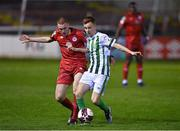2 April 2021; Brandon Kavanagh of Bray Wanderers in action against Sean Quinn of Shelbourne during the SSE Airtricity League First Division match between Shelbourne and Bray Wanderers at Tolka Park in Dublin. Photo by Piaras Ó Mídheach/Sportsfile