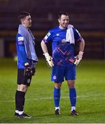 2 April 2021; Bray Wanderers goalkeeper Brian Maher, left, and Shelbourne goalkeeper Brendan Clarke in conversation after the drawn SSE Airtricity League First Division match between Shelbourne and Bray Wanderers at Tolka Park in Dublin. Photo by Piaras Ó Mídheach/Sportsfile