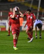 2 April 2021; Michael O'Connor of Shelbourne reacts after conceding a free during the SSE Airtricity League First Division match between Shelbourne and Bray Wanderers at Tolka Park in Dublin. Photo by Piaras Ó Mídheach/Sportsfile