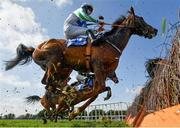 4 April 2021; Cousin Harry, with Gearoid Patrick Brouder up, jumps the last during the Cawley Furniture Novice Handicap Hurdle on day two of the Fairyhouse Easter Festival at the Fairyhouse Racecourse in Ratoath, Meath. Photo by Seb Daly/Sportsfile