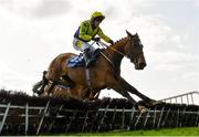 4 April 2021; Skyace, with Jody McGarvey up, jumps the last on their way to winning the Irish Stallion Farms EBF Mares Novice Hurdle Championship Final on day two of the Fairyhouse Easter Festival at the Fairyhouse Racecourse in Ratoath, Meath. Photo by Seb Daly/Sportsfile