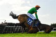 4 April 2021; Royal Illusion and jockey Bryan Cooper fall at the last during the Irish Stallion Farms EBF Mares Novice Hurdle Championship Final on day two of the Fairyhouse Easter Festival at the Fairyhouse Racecourse in Ratoath, Meath. Photo by Seb Daly/Sportsfile
