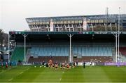 4 April 2021; The Ulster team warm up before the European Rugby Challenge Cup Round of 16 match between Harlequins and Ulster at The Twickenham Stoop in London, England. Photo by Matt Impey/Sportsfile