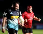 4 April 2021; Eric O'Sullivan of Ulster celebrates winning a penalty during the European Rugby Challenge Cup Round of 16 match between Harlequins and Ulster at The Twickenham Stoop in London, England. Photo by Matt Impey/Sportsfile