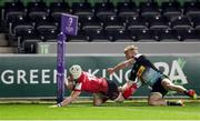 4 April 2021; Michael Lowry of Ulster scores his side's fourth try during the European Rugby Challenge Cup Round of 16 match between Harlequins and Ulster at The Twickenham Stoop in London, England. Photo by Matt Impey/Sportsfile