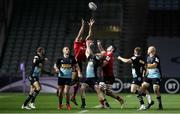 4 April 2021; Robert Baloucoune and Nick Timoney of Ulster contest a loose ball with Tyrone Green of Harlequins during the European Rugby Challenge Cup Round of 16 match between Harlequins and Ulster at The Twickenham Stoop in London, England. Photo by Matt Impey/Sportsfile