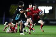 4 April 2021; John Cooney of Ulster is tackled by Elia Elia of Harlequins during the European Rugby Challenge Cup Round of 16 match between Harlequins and Ulster at The Twickenham Stoop in London, England. Photo by Matt Impey/Sportsfile