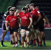 4 April 2021; Nick Timoney of Ulster, centre, celebrates his side's fifth try, scored by Rob Herring, during the European Rugby Challenge Cup Round of 16 match between Harlequins and Ulster at The Twickenham Stoop in London, England. Photo by Matt Impey/Sportsfile
