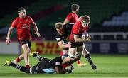4 April 2021; Matty Rea of Ulster is tackled by Jordan Els and Tex Cavubati of Harlequins during the European Rugby Challenge Cup Round of 16 match between Harlequins and Ulster at The Twickenham Stoop in London, England. Photo by Matt Impey/Sportsfile