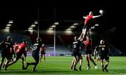 4 April 2021; Matty Rea of Ulster takes the ball in a lineout during the European Rugby Challenge Cup Round of 16 match between Harlequins and Ulster at The Twickenham Stoop in London, England. Photo by Matt Impey/Sportsfile
