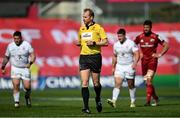 3 April 2021; Referee Wayne Barnes during the Heineken Champions Cup Round of 16 match between Munster and Toulouse at Thomond Park in Limerick. Photo by Ramsey Cardy/Sportsfile