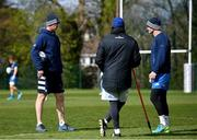 5 April 2021; Head coach Leo Cullen, left, backs coach Felipe Contepomi, centre, and Jonathan Sexton during Leinster Rugby squad training at UCD in Dublin. Photo by Ramsey Cardy/Sportsfile