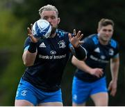 5 April 2021; Andrew Porter, left, and Jordan Larmour during Leinster Rugby squad training at UCD in Dublin. Photo by Ramsey Cardy/Sportsfile