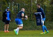 5 April 2021; Rhys Ruddock, left, and James Ryan, watched by contact skills coach Hugh Hogan during Leinster Rugby squad training at UCD in Dublin. Photo by Ramsey Cardy/Sportsfile