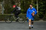 5 April 2021; Rónan Kelleher arrives for Leinster Rugby squad training at UCD in Dublin. Photo by Ramsey Cardy/Sportsfile