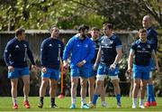 5 April 2021; Leinster players, from left, Seán Cronin, James Lowe, Robbie Henshaw, Hugo Keenan, Jack Conan, Jordan Larmour and Devin Toner during Leinster Rugby squad training at UCD in Dublin. Photo by Ramsey Cardy/Sportsfile