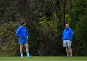 5 April 2021; Senior coach Stuart Lancaster, right, in conversation with Robbie Henshaw during Leinster Rugby squad training at UCD in Dublin. Photo by Ramsey Cardy/Sportsfile