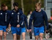 5 April 2021; Harry Byrne, left, and Tommy O'Brien during Leinster Rugby squad training at UCD in Dublin. Photo by Ramsey Cardy/Sportsfile