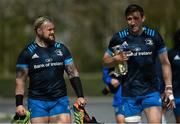 5 April 2021; Andrew Porter, left, and Jack Conan during Leinster Rugby squad training at UCD in Dublin. Photo by Ramsey Cardy/Sportsfile