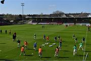 3 April 2021; Cork City players warm up before the SSE Airtricity Women's National League match between Cork City and Shelbourne at Turners Cross in Cork. Photo by Eóin Noonan/Sportsfile