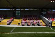 3 April 2021; A view of the new dugout area before the SSE Airtricity Women's National League match between Cork City and Shelbourne at Turners Cross in Cork. Photo by Eóin Noonan/Sportsfile
