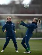 5 April 2021; Hayley Nolan, right, and Amber Barrett during a Republic of Ireland WNT training session at FAI National Training Centre in Dublin. Photo by David Fitzgerald/Sportsfile